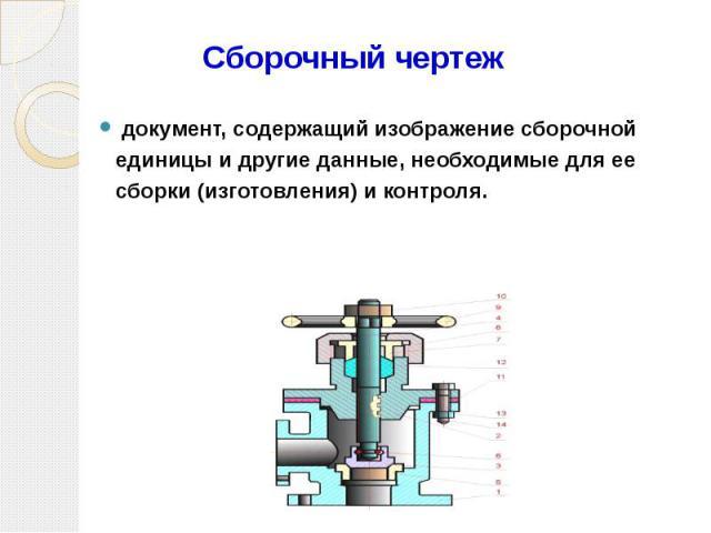 Сборочный чертеж документ, содержащий изображение сборочной единицы и другие данные, необходимые для ее сборки (изготовления) и контроля.