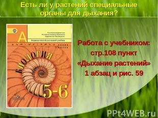 Работа с учебником: стр.108 пункт «Дыхание растений» 1 абзац и рис. 59 Работа с