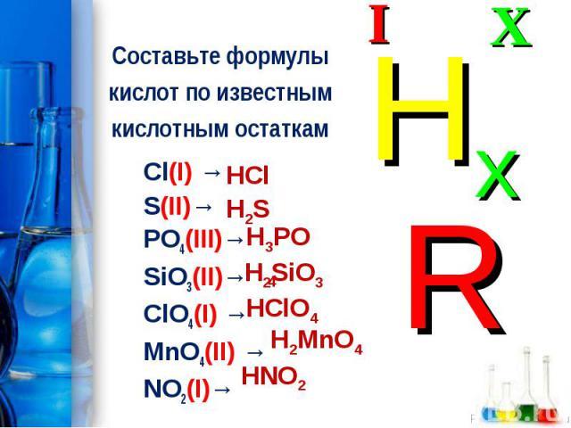 Cl(I) → Cl(I) → S(II)→ PO4(III)→ SiO3(II)→ ClO4(I) → MnO4(II) → NO2(I)→