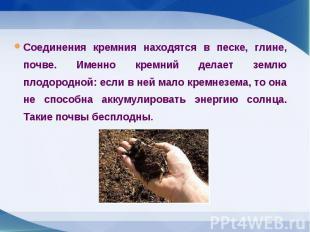Соединения кремния находятся в песке, глине, почве. Именно кремний делает землю