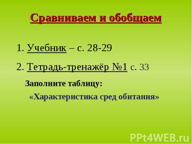 1. Учебник – с. 28-29 1. Учебник – с. 28-29 2. Тетрадь-тренажёр №1 с. 33 Заполните таблицу: «Характеристика сред обитания»