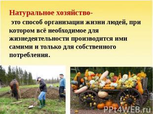 Натуральное хозяйство- это способ организации жизни людей, при котором всё необх