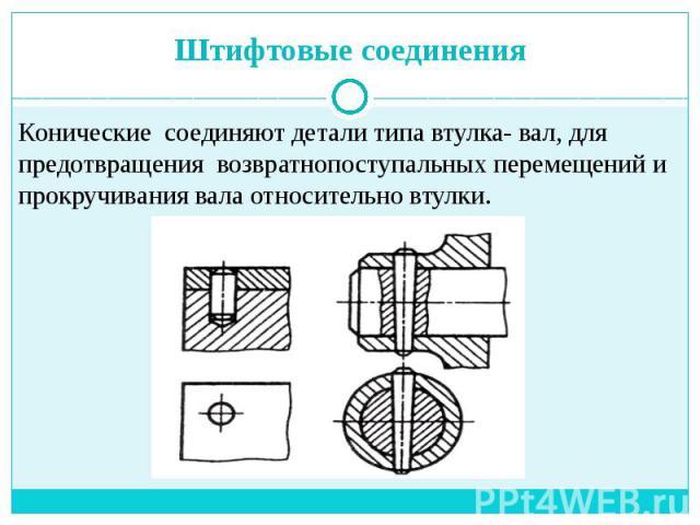 Штифтовые соединения Конические соединяют детали типа втулка- вал, для предотвращения возвратнопоступальных перемещений и прокручивания вала относительно втулки.
