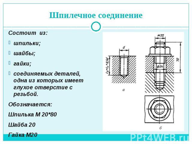 Шпилечное соединение Состоит из: шпильки; шайбы; гайки; соединяемых деталей, одна из которых имеет глухое отверстие с резьбой. Обозначается: Шпилька М 20*80 Шайба 20 Гайка М20