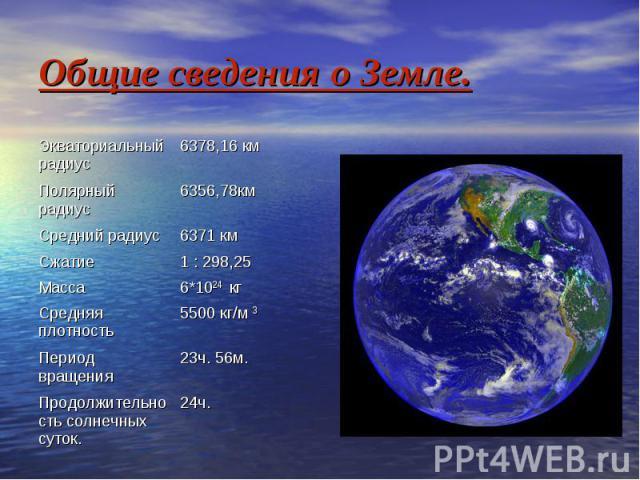Общие сведения о Земле.