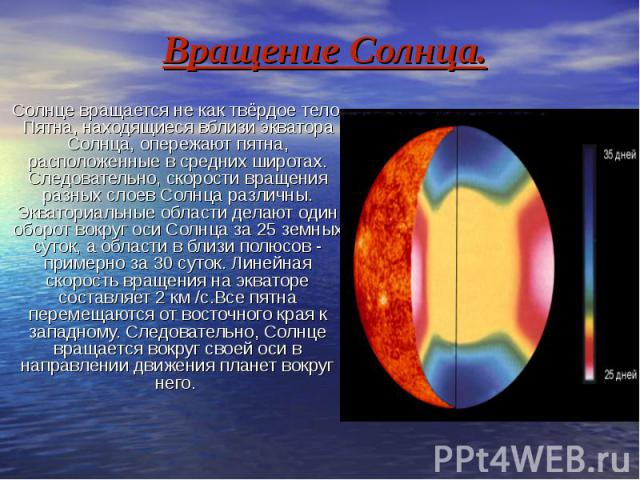 Вращение Солнца. Солнце вращается не как твёрдое тело. Пятна, находящиеся вблизи экватора Солнца, опережают пятна, расположенные в средних широтах. Следовательно, скорости вращения разных слоев Солнца различны. Экваториальные области делают один обо…