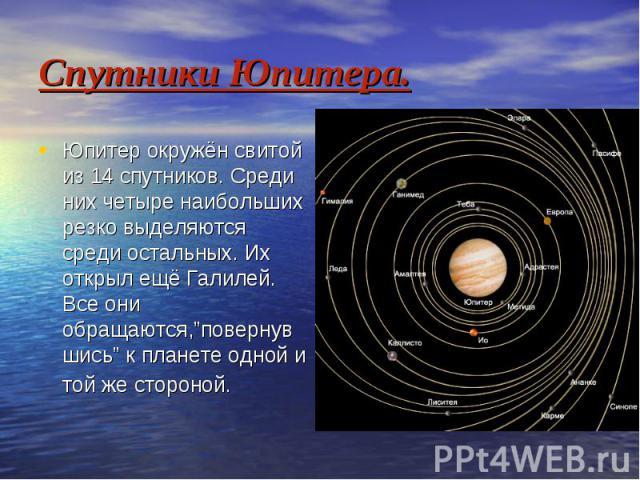 """Спутники Юпитера. Юпитер окружён свитой из 14 спутников. Среди них четыре наибольших резко выделяются среди остальных. Их открыл ещё Галилей. Все они обращаются,""""повернувшись"""" к планете одной и той же стороной."""