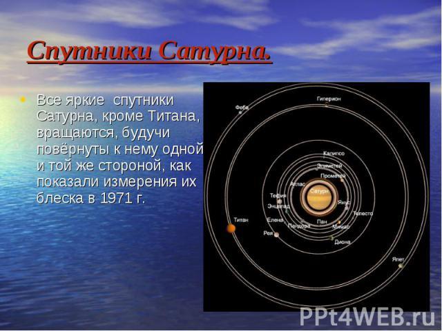 Спутники Сатурна. Все яркие спутники Сатурна, кроме Титана, вращаются, будучи повёрнуты к нему одной и той же стороной, как показали измерения их блеска в 1971 г.