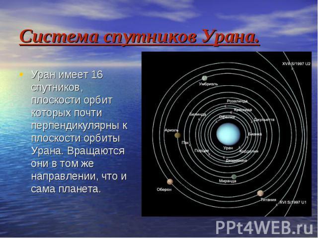Система спутников Урана. Уран имеет 16 спутников, плоскости орбит которых почти перпендикулярны к плоскости орбиты Урана. Вращаются они в том же направлении, что и сама планета.