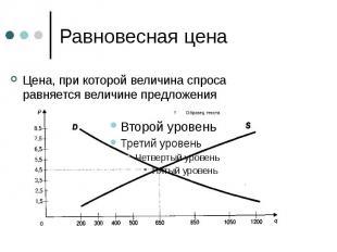 Равновесная цена Цена, при которой величина спроса равняется величине предложени