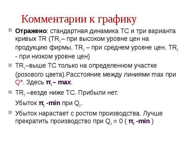 Отражено: стандартная динамика TC и три варианта кривых TR (TR1 – при высоком уровне цен на продукцию фирмы, TR2 – при среднем уровне цен, TR3 - при низком уровне цен) Отражено: стандартная динамика TC и три варианта кривых TR (TR1 – при высоком уро…