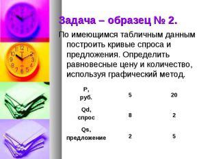 Задача – образец № 2. По имеющимся табличным данным построить кривые спроса и пр