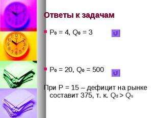Ответы к задачам Р0 = 4, Q0 = 3 Р0 = 20, Q0 = 500 При Р = 15 – дефицит на рынке