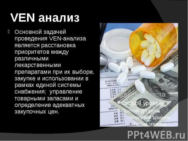 VEN анализ Основной задачей проведения VEN-анализа является расстановка приоритетов между различными лекарственными препаратами при их выборе, закупке и использовании в рамках единой системы снабжения; управление товарными запасами и определение аде…