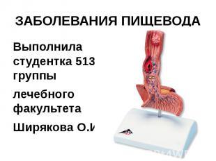 ЗАБОЛЕВАНИЯ ПИЩЕВОДА Выполнила студентка 513 группы лечебного факультета Ширяков