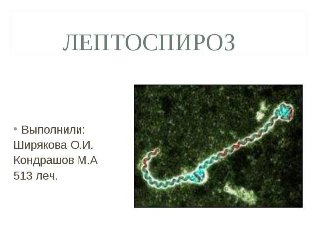 Выполнили: Выполнили: Ширякова О.И. Кондрашов М.А 513 леч.