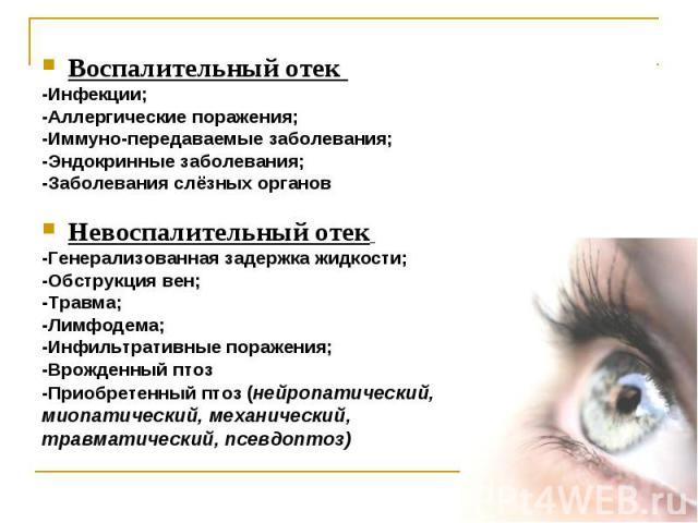 Воспалительный отек Воспалительный отек -Инфекции; -Аллергические поражения; -Иммуно-передаваемые заболевания; -Эндокринные заболевания; -Заболевания слёзных органов Невоспалительный отек -Генерализованная задержка жидкости; -Обструкция вен; -Травма…