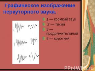 Графическое изображение перкуторного звука. 1 — громкий звук 2 — тихий 3 — продо