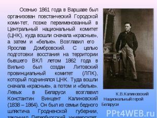Осенью 1861 года в Варшаве был организован повстанческий Городской коми-тет, поз