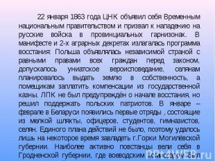 22 января 1863 года ЦНК объявил себя Временным национальным правительством и при