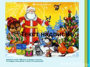 """Дед Мороз сказал: """"Мишутка, это правда, а не шутка! Ты поздравь своих друзе"""