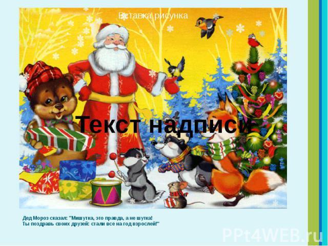 """Дед Мороз сказал: """"Мишутка, это правда, а не шутка! Ты поздравь своих друзей: стали все на год взрослей!"""" Дед Мороз сказал: """"Мишутка, это правда, а не шутка! Ты поздравь своих друзей: стали все на год взрослей!"""""""