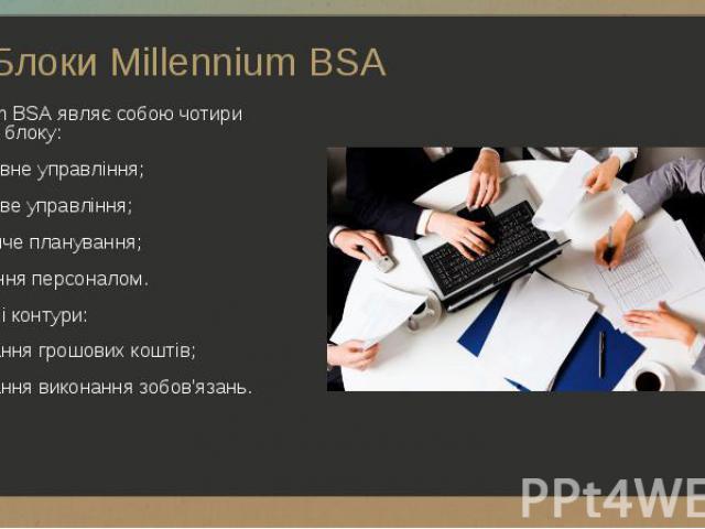 Millennium BSA являє собою чотири основних блоку: Millennium BSA являє собою чотири основних блоку: - оперативне управління; - фінансове управління; - виробниче планування; - управління персоналом. Допоміжні контури: - планування грошових коштів; - …