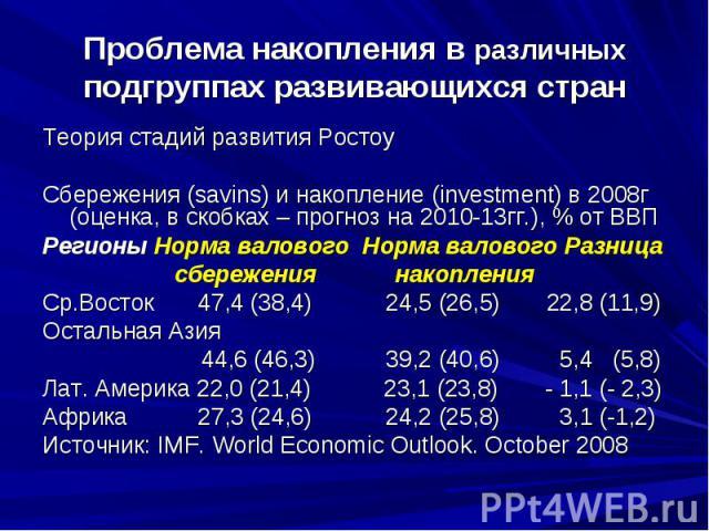 Проблема накопления в различных подгруппах развивающихся стран Теория стадий развития Ростоу Сбережения (savins) и накопление (investment) в 2008г (оценка, в скобках – прогноз на 2010-13гг.), % от ВВП Регионы Норма валового Норма валового Разница сб…