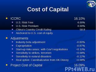 Cost of Capital ICCRC 16.10% U.S. Risk Free 4.00% U.S. Risk Premium 4.00% China'
