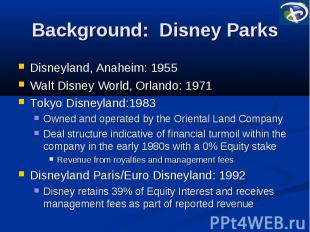 Background: Disney Parks Disneyland, Anaheim: 1955 Walt Disney World, Orlando: 1