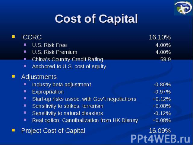 Cost of Capital ICCRC 16.10% U.S. Risk Free 4.00% U.S. Risk Premium 4.00% China's Country Credit Rating 58.9 Anchored to U.S. cost of equity Adjustments Industry beta adjustment -0.80% Expropriation -0.97% Start-up risks assoc. with Gov't negotiatio…