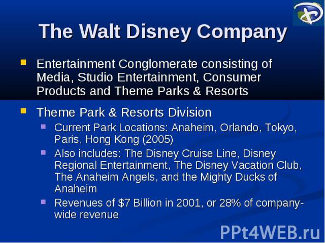 a business analysis of the disney companys theme parks and resorts