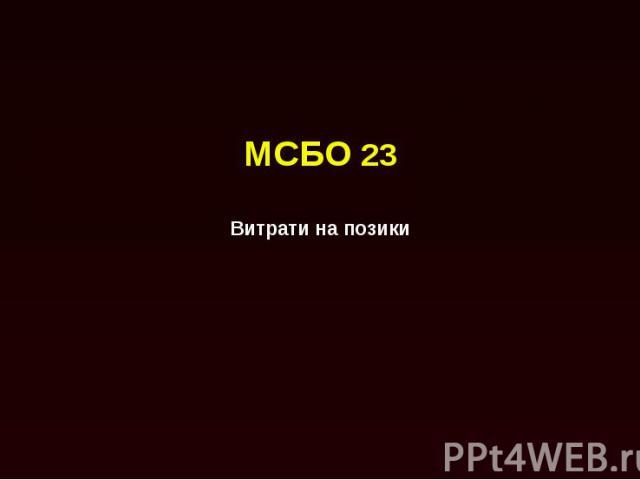МСБО 23 Витрати на позики