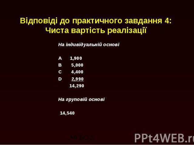 Відповіді до практичного завдання 4: Чиста вартість реалізації На індивідуальній основі A 1,900 B 5,000 C 4,400 D 2,990 14,290 На груповій основі 14,540