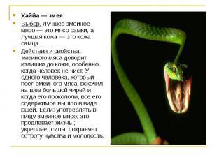 Хаййа — змея Выбор. Лучшее змеиное мясо — это мясо самки, а лучшая кожа — это ко