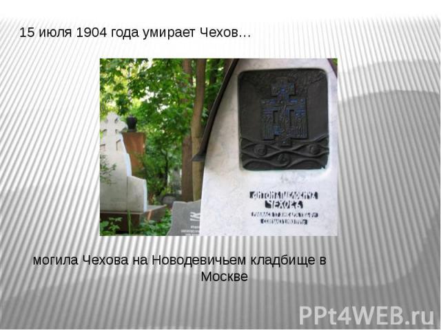15 июля 1904 года умирает Чехов… 15 июля 1904 года умирает Чехов… могила Чехова на Новодевичьем кладбище в Москве