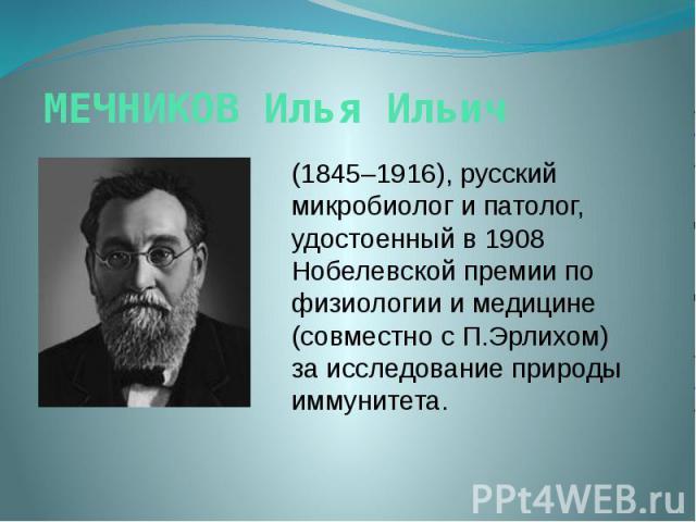 МЕЧНИКОВ Илья Ильич (1845–1916), русский микробиолог и патолог, удостоенный в 1908 Нобелевской премии по физиологии и медицине (совместно с П.Эрлихом) за исследование природы иммунитета.