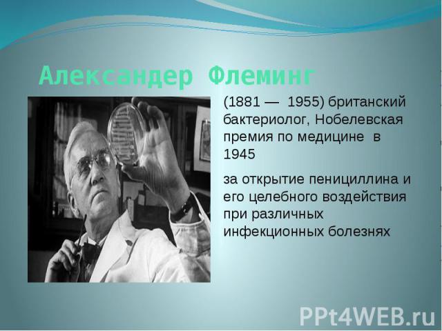 Александер Флеминг (1881 — 1955) британский бактериолог, Нобелевская премия по медицине в 1945 за открытие пенициллина и его целебного воздействия при различных инфекционных болезнях