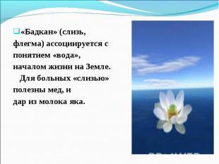 «Бадкан» (слизь, «Бадкан» (слизь, флегма) ассоциируется с понятием «вода», начал