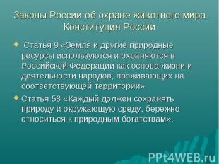 Законы России об охране животного мира Конституция России Статья 9 «Земля и друг