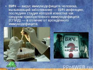ВИЧ — вирус иммунодефицита человека, вызывающий заболевание — ВИЧ-инфекцию, посл