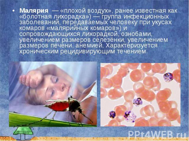 Малярия — «плохой воздух», ранее известная как «болотная лихорадка»)— группа инфекционных заболеваний, передаваемых человеку при укусах комаров «малярийных комаров») и сопровождающихся лихорадкой, ознобами, увеличением размеров селезёнки…