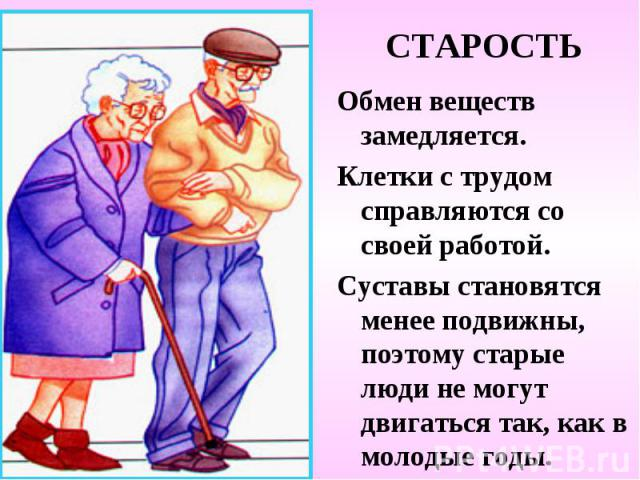 СТАРОСТЬ Обмен веществ замедляется. Клетки с трудом справляются со своей работой. Суставы становятся менее подвижны, поэтому старые люди не могут двигаться так, как в молодые годы.