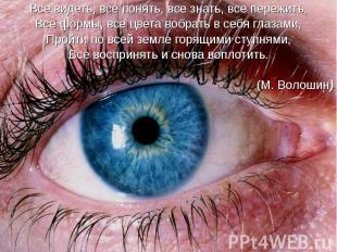 Все видеть, все понять, все знать, все пережить, Все видеть, все понять, все зна