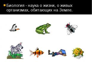 Биология - наука о жизни, о живых организмах, обитающих на Земле. Биология - нау