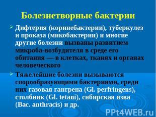 Дифтерия (коринебактерии), туберкулез и проказа (микобактерии) и многие другие б