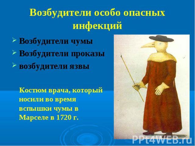 Возбудители чумы Возбудители чумы Возбудители проказы возбудители язвы Костюм врача, который носили во время вспышки чумы в Марселе в 1720 г.