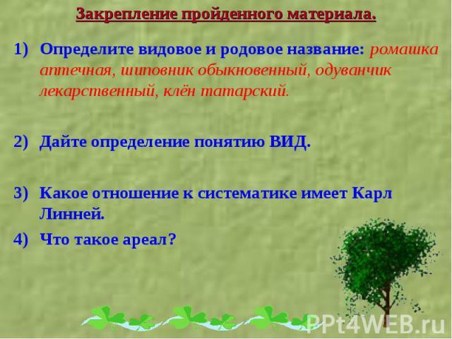 Определите видовое и родовое название: ромашка аптечная, шиповник обыкновенный, одуванчик лекарственный, клён татарский. Определите видовое и родовое название: ромашка аптечная, шиповник обыкновенный, одуванчик лекарственный, клён татарский. Дайте о…