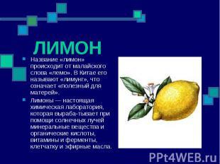 Название «лимон» происходит от малайского слова «лемо». В Китае его называют «ли