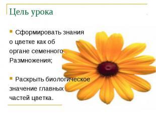 Сформировать знания Сформировать знания о цветке как об органе семенного Размнож